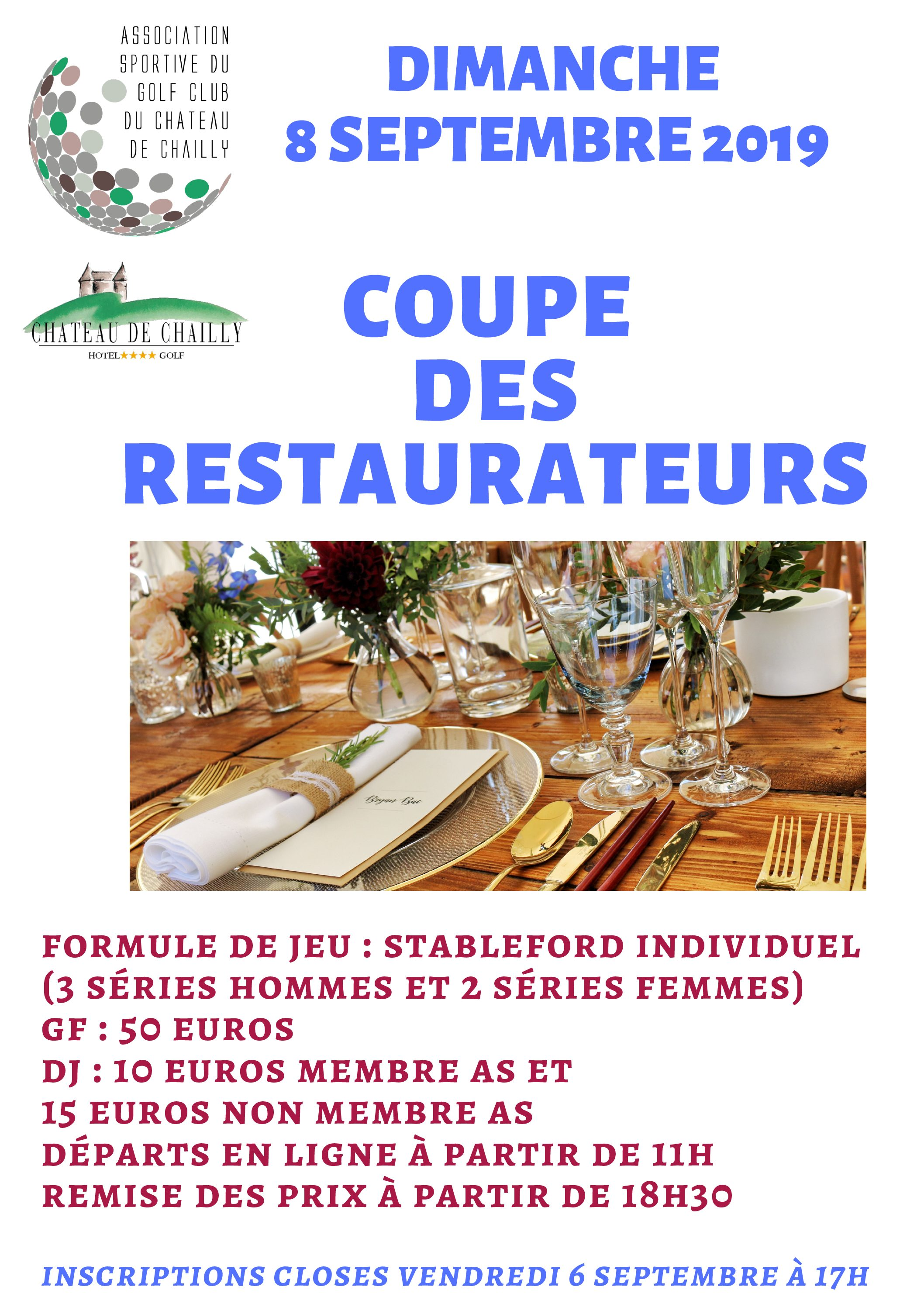 COUPE DES RESTAURATEURS – 8 SEPTEMBRE 2019