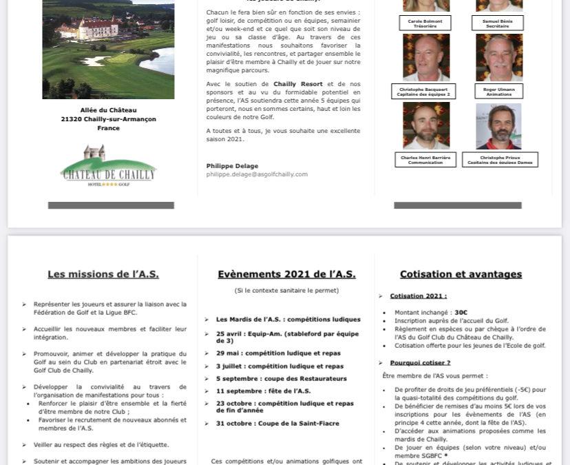 Dépliant accueil AS Golf de Chailly