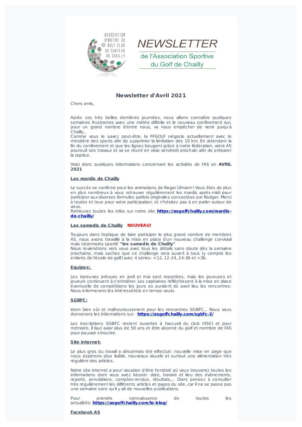 Newsletter du mois d'Avril 2021
