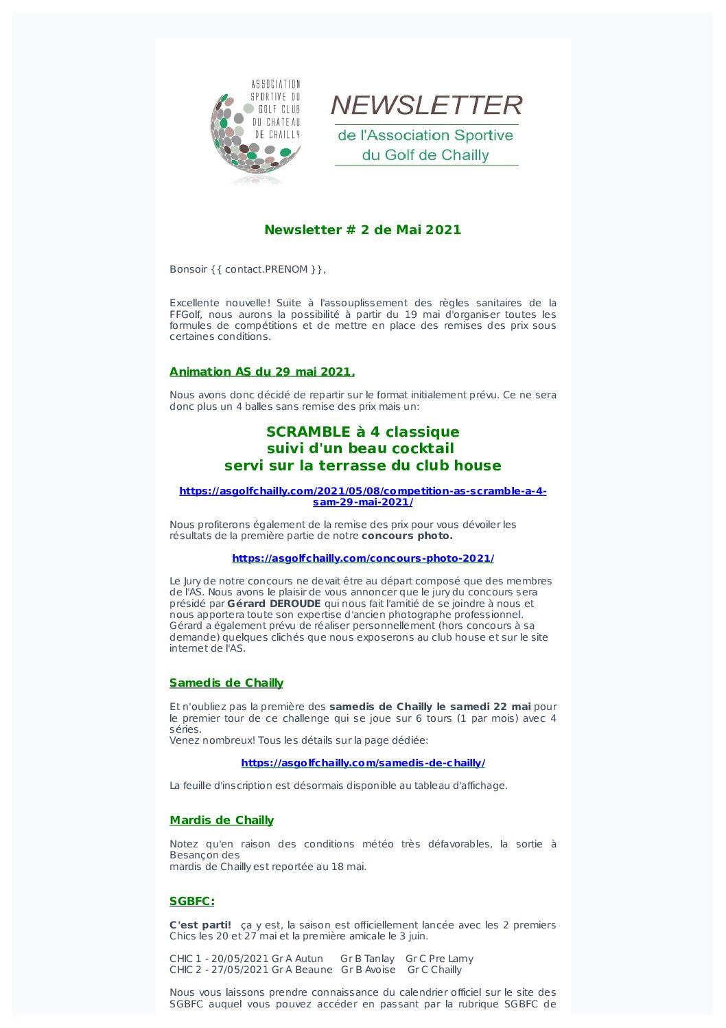 Newsletter N°2 du mois de Mai 2021